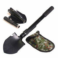 Лопата розкладна, автомобільна, туристична, військова у чохлі. Похідна складна лопата саперна 5 в 1, фото 1