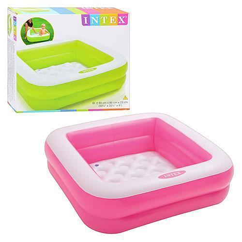 Детский квадратный надувной домашний бассейн Intex 57100 для детей розовый 85х85х23 см