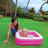 Детский квадратный надувной домашний бассейн Intex 57100 для детей розовый 85х85х23 см, фото 4