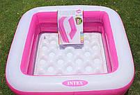 Детский квадратный надувной домашний бассейн Intex 57100 для детей розовый 85х85х23 см, фото 5