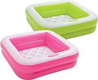 Детский квадратный надувной домашний бассейн Intex 57100 для детей розовый 85х85х23 см, фото 8