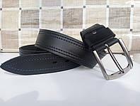 Черный кожаный ремень с отстрочкой