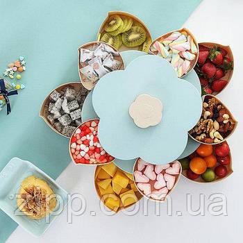 Обертова тарілка-органайзер для закусок | Двоярусна обертається тарілка для закусок фруктів і солодкого