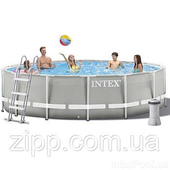 Каркасний басейн Intex 457х107 см (фільтр насос 3 785 л/год, сходи, тент, підстилка) | Басейн Intex