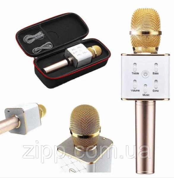 Безпровідний мікрофон караоке UTM з динаміками в чохлі Bluetooth USB Q7 Gold