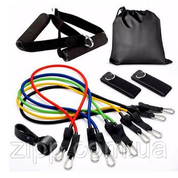 Универсальный набор эспандеров Бубновского из 5 шт EasyFit (трубчатые резиновые жгуты для фитнеса)