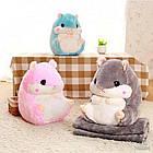 Хомяк-подушка с пледом| детская игрушка| подушка в авто РОЗОВЫЙ, фото 2