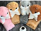 Хомяк-подушка с пледом| детская игрушка| подушка в авто РОЗОВЫЙ, фото 4