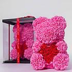 Мишка из роз ROSE BEAR| Мишка из цветов| Розовый, фото 2