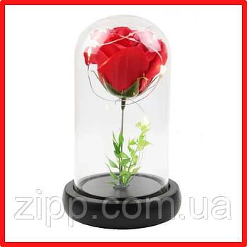 РОЗА в колбе с подсветкой| Вечная роза| Цветок в колбе| КРАСНАЯ