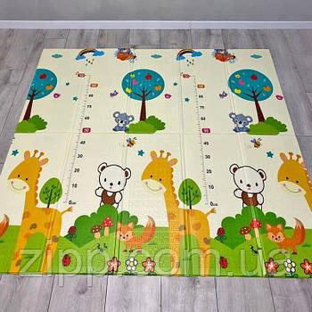 Коврик складной Звери  Детский коврик для ползания 1.5*1.8 м