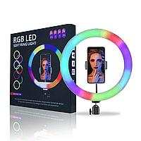 Кольцевая LED селфи лампа 30 см RGB   Кольцевая лампа с держателем для телефона