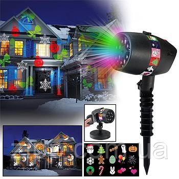 Новогодний лазерный проектор Star Shower Slide Show  Новогодний проектор  Уличный проектор