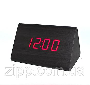 Часы-Будильник VST-864-1  Настольные часы  Часы настольные с красной подсветкой дерево  Электронные часы