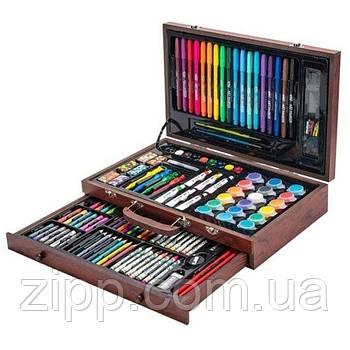 Набір для творчості 123 предмета в дерев'яному валізі| Художній набір для малювання