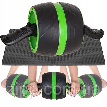 Колесо для мышц пресса  Тренажер ролик для пресса 18 см Зеленый  Ролик гимнастический  Колесо для мышц пресса