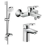 Набор смесителей для ванны, умывальник Hansgrohe Logis Loop 100 (71151000+71244000+26553400)