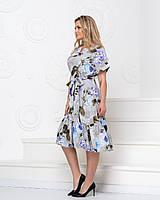 Повсякденне жіноче приталене котоновое сукні з квітковим принтом і кишенями р. 50-56. Арт-4413/33, фото 1