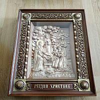 Икона Рождество Христово резная из дерева в рамке