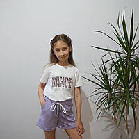 Детская футболка для девочки с принт накаткой белая