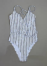 Слитный супермодный женский полосатый купальник р. 38-46