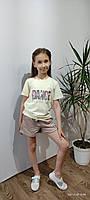 Детская стильная жёлтая футболка для девочки