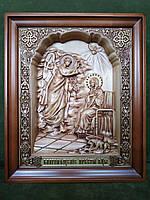 Икона Благовещение Пресвятой Богородицы резная из дерева в рамке