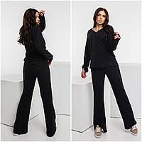 Стильний жіночий брючний вільний комфортний костюм оверсайз: кофточка + широкі штани р. 42-48. Арт-4417/23