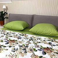 """Комбинированное белое постельное белье """"Цветы"""" евро размер с увеличенной простыней 220/240 см, хлопок 100%"""