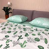 """""""Кактус"""" постельное белье белое комбинированное, евро размер с увеличенной простыней 220/240 см, хлопок 100%"""