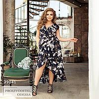 Платье Ассиметричное цветочный принт темно-синий