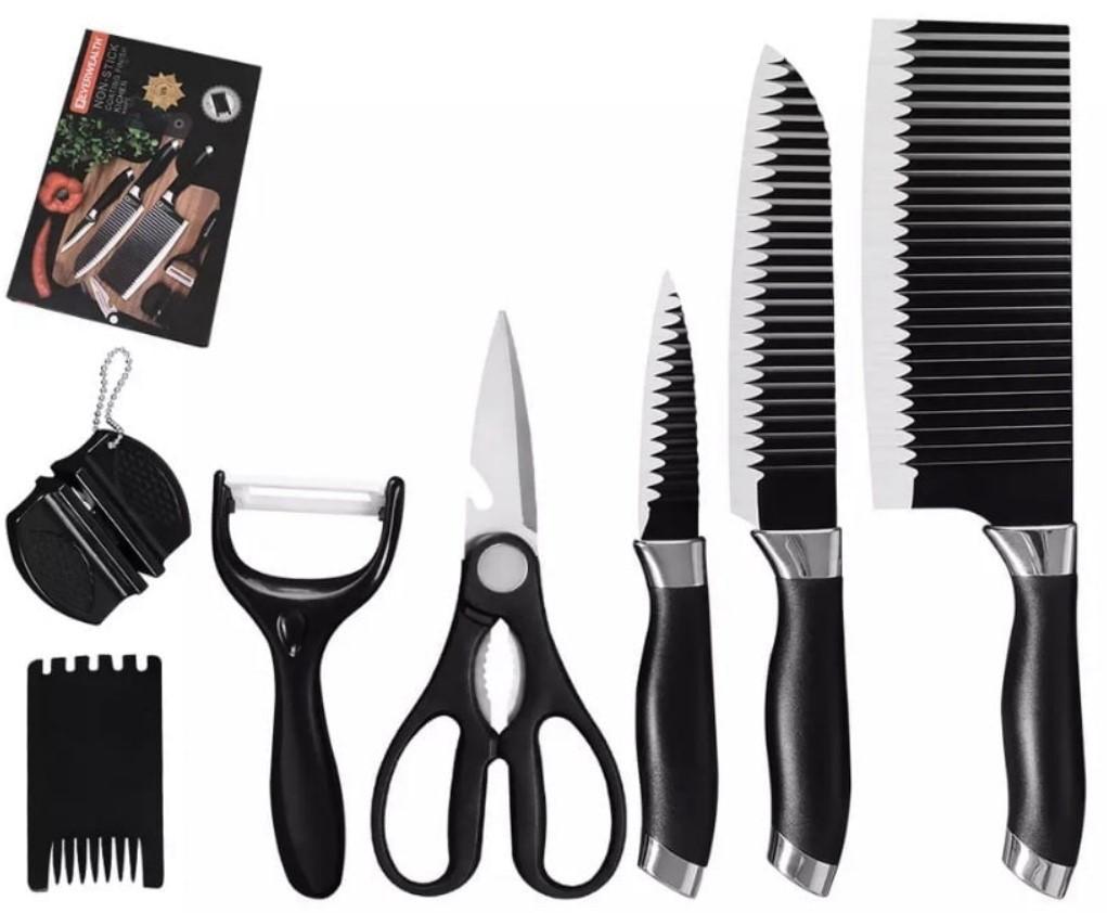 Набір кухонних ножів EVERWAALTH з нержавіючої сталі, 7 в 1.
