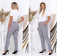 Серые женские брюки больших размеров с карманами и завышеной талией (р.50-56). Арт-4419/33, фото 1