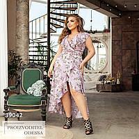 Платье Ассиметричное цветочный принт лиловый