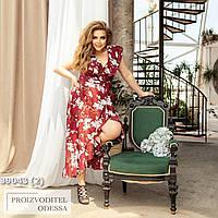 Платье Ассиметричное цветочный принт бордо