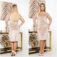 Красивое женское вечернее облегающее платье батал с пайетками р.50-56. Арт-4422/33, фото 1