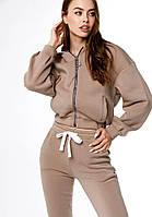Женский бежевый костюм спортивный с карточкой модный весенний красивый штаны джоггеры