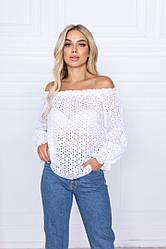 Річна жіноча блуза з відкритими плечима й довгими рукавами