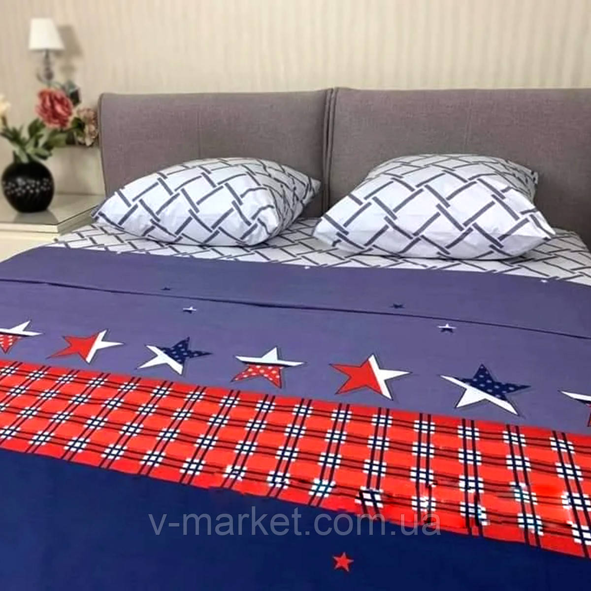 """""""Звезды"""" синее комбинированное постельное белье евро размер с увеличенной простыней 220/240 см, 100% хлопок"""