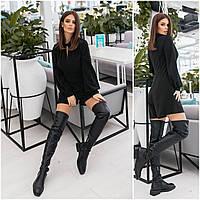 Элегантный женский нарядный блестящий комбинезон с шортами и длинным рукавом на кофте (р.42-48). Арт-4423/33 черный