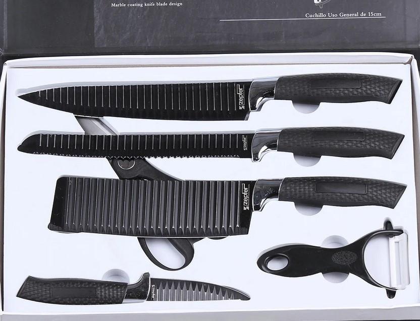 Стильный набор кухонных рифленых ножей с антибактериальным покрытием 6 в 1 Zepter