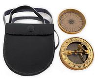 Солнечные часы с компасом бронзовый в Кожаном Чехле