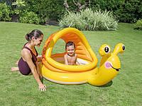 Детский круглый надувной бассейн плотик Улитка INTEX с навесом и надувным мягким дном для детей 145х102х14 см