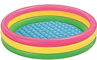 """Детский надувной бассейн Intex """"Радуга"""" 114х25 см с надувным дном разноцветный бассейн для малышей 57412"""