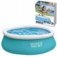 Надувной круглый наливной семейный бассейн Intex 28101 Easy Set Pool 183х51 см большой для дома голубой