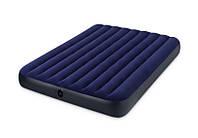 Надувной двуспальный матрас Intex 64765 с насосом и подушками для пляжа 152х203х25 см