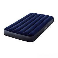 Надувной односпальный домашний матрас Intex 64757 для дома сна 99x191x25 см темно синий