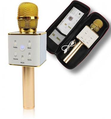 Беспроводной микрофон караоке bluetooth Q7 MS золотой 130336