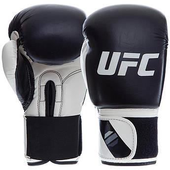 Перчатки боксерские PU на липучке UFC PRO Compact (PU, р-р L, белый-черный)