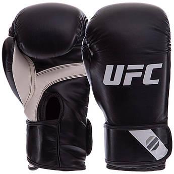 Перчатки боксерские PU на липучке UFC PRO Fitness (PU, р-р 12oz, черный)